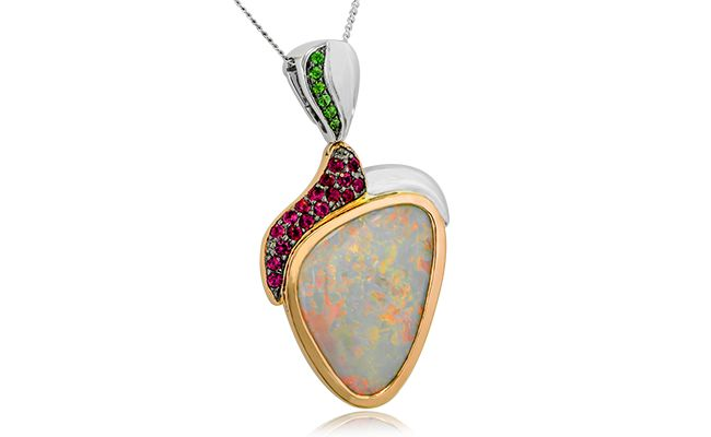 STRAWBERRY LOVE  A stunning 7.32ct free form solid opal in shades of pink, green and lilac features on this 18ct rose and white gold pendant.  #opal #opals #australianopal #opaljewelry