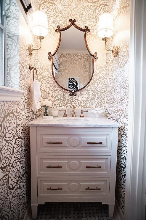 Hygge west oh joy petal pusher wallpaper bathrooms in - Bathroom wall decorating ideas small bathrooms ...
