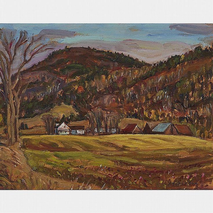 A.Y, Jackson - Farm at Notre Dame de la Salette Quebec 10.5 x 13.5 Oil on panel