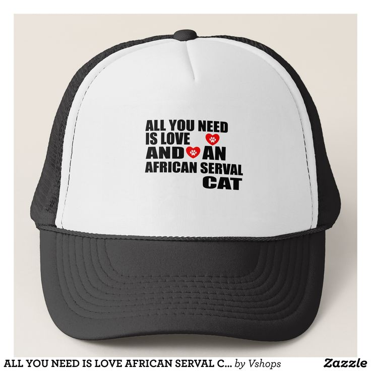 ALL YOU NEED IS LOVE AFRICAN SERVAL CAT DESIGNS TRUCKER HAT - Urban Hunter Fisher Farmer Redneck Hats By Talented Fashion And Graphic Designers - #hats #truckerhat #mensfashion #apparel #shopping #bargain #sale #outfit #stylish #cool #graphicdesign #trendy #fashion #design #fashiondesign #designer #fashiondesigner #style