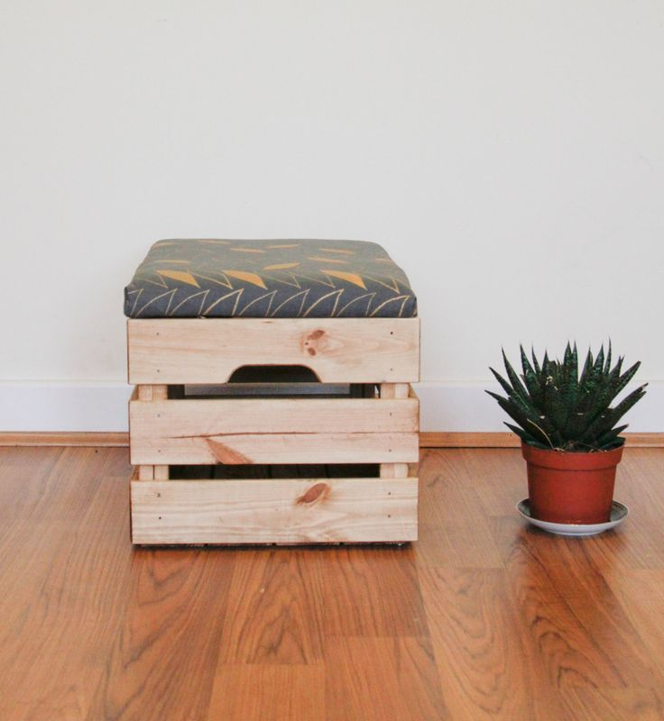 Upcycled Apple Crate Ottoman Fool stool/ storage box with hand screen charcoal/gold parquet leaf pattern by MadeanewShop on Etsy https://www.etsy.com/listing/259374868/upcycled-apple-crate-ottoman-fool-stool