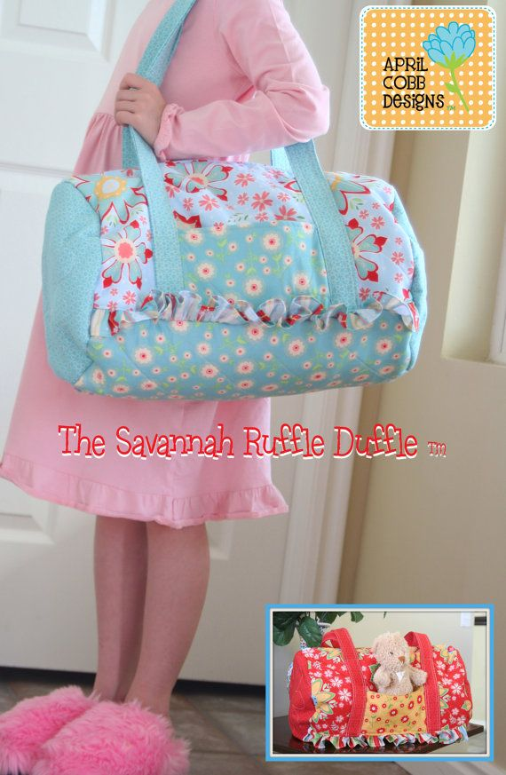 The Savannah Ruffled Duffle Bag  PDF Sewing Pattern ❤ by April Cobb