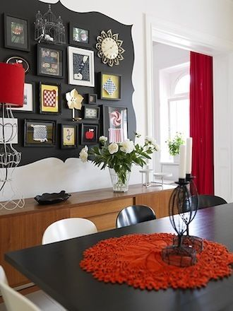 gallery wall with painted background, framesDecor, Wall Art, Ideas, Dining Room, Photos Wall, Painting Frames, Gallery Wall, Black Wall, Art Wall