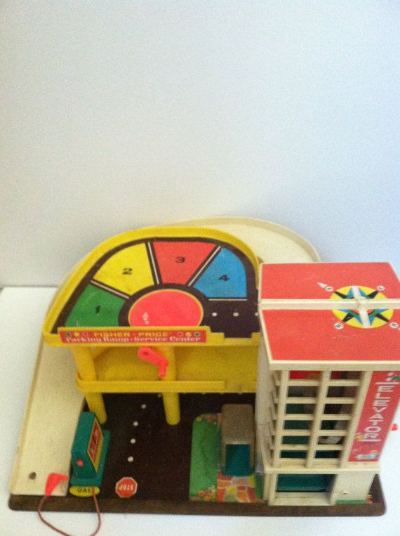 vintage FISHER PRICE original toy garage by TONITIQUES on Etsy, $32.00
