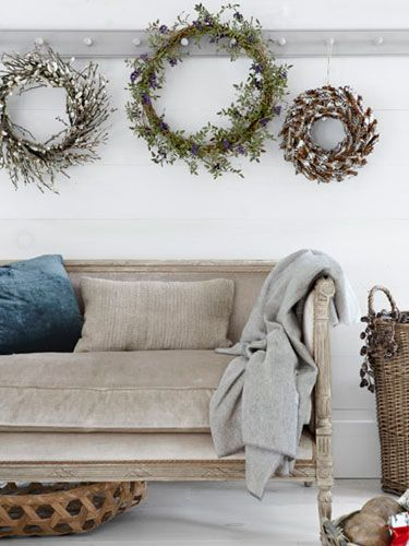Go beyond evergreen boughs and bright-red bows—these wreaths are stunning in their simplicity.