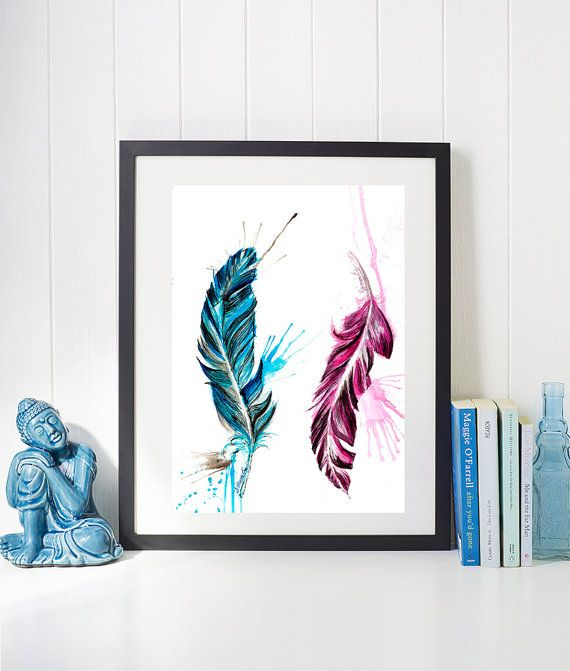 Nursery gift idea https://www.etsy.com/uk/listing/454705278/pink-and-blue-feather-fine-art-giclee