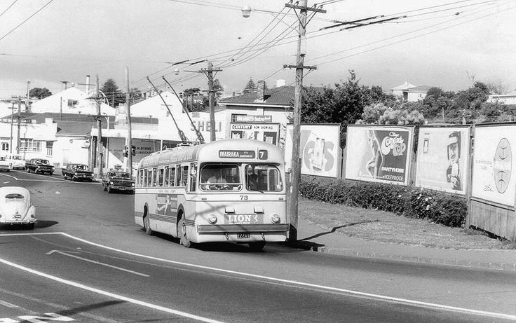 Auckland trolleybus nostalgia: ARA 73 on Route 7 in Kingsland  Brings back memories when I lived in Sandringham Rd. and was a regular on the Owaraka Route 7 trolleybus. 73 is viewed here turning off New North Rd. across the railway overbridge to Sandringham Rd.