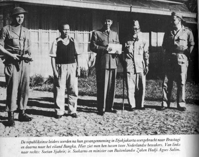M.Hatta (second from left), Soekarno (center), H.Agus Salim (second from right) captured by KNIL in Jogjakarta, 1949.