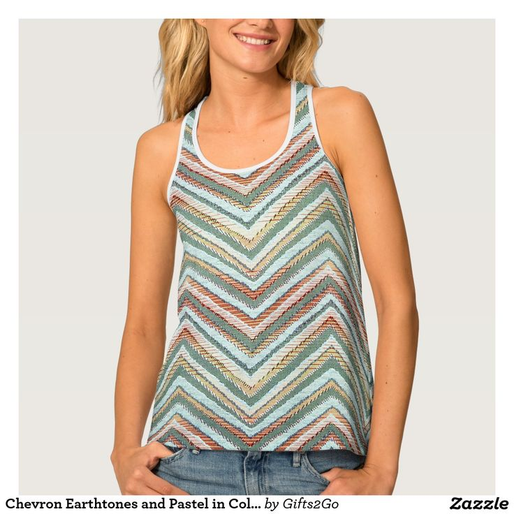 Chevron Earthtones and Pastel in Color, Patterns Tank Top