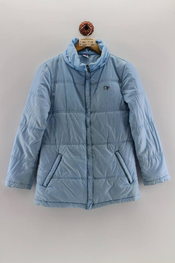 OCEAN PACIFIC Bomber Jacket Ladies Medium Vintage 90s Ocean Pacific Hawaii Snow Jacket Zipper OP Insulated Down Jacket Women Blue Size M