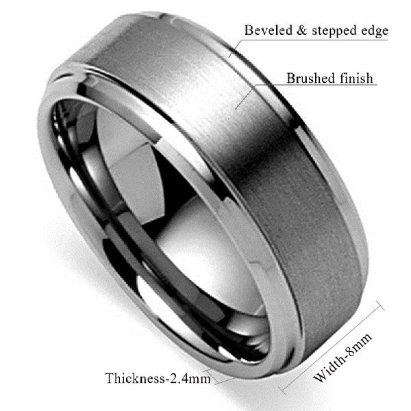 King Will 8mm Polished Beveled Edge/ Matte Brushed Finish Center Men's Tungsten Carbide Ring Wedding Band(6)