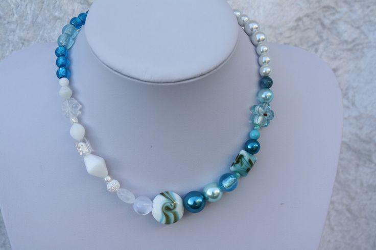 Ketten kurz - Kette türkis weiß Perlen Blume Schmuck Cateye - ein Designerstück von trixies-zauberhafte-Welten bei DaWanda