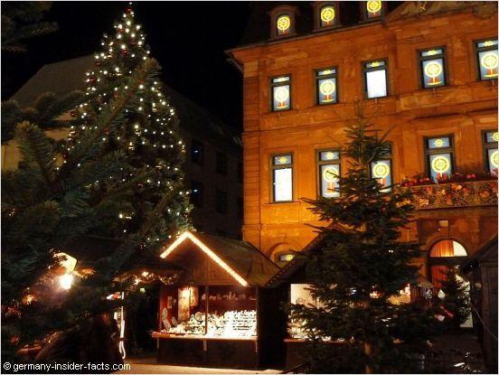 Christmas market at night in Hanau, Germany