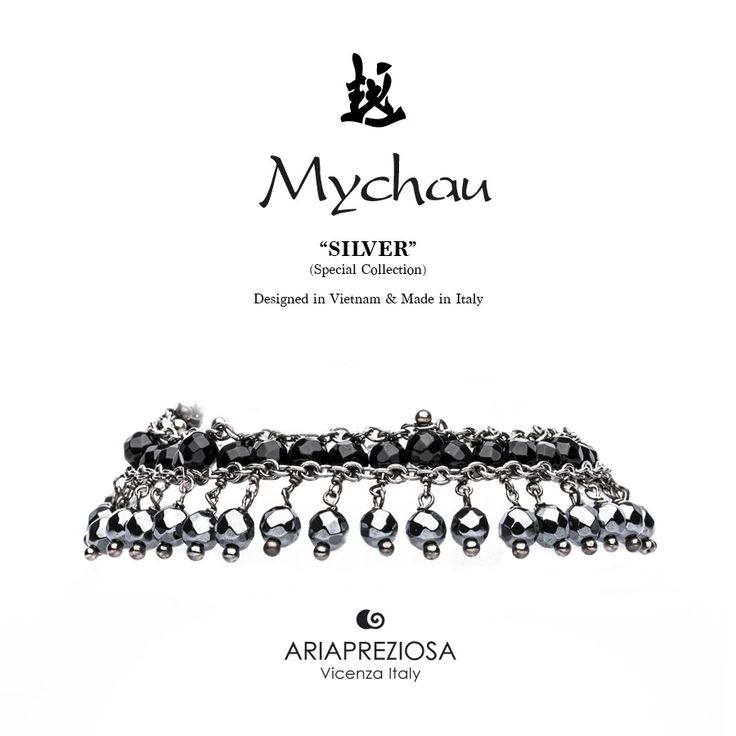 Mychau Silver - Bracciale realizzato in Argento 925‰ (galvanica rutenio nero) e pietre naturali Onice ed Ematite