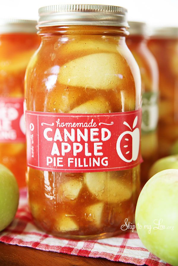 Printable homemade canned apple filling label and apple pie filling recipe #recipe #apple #printable