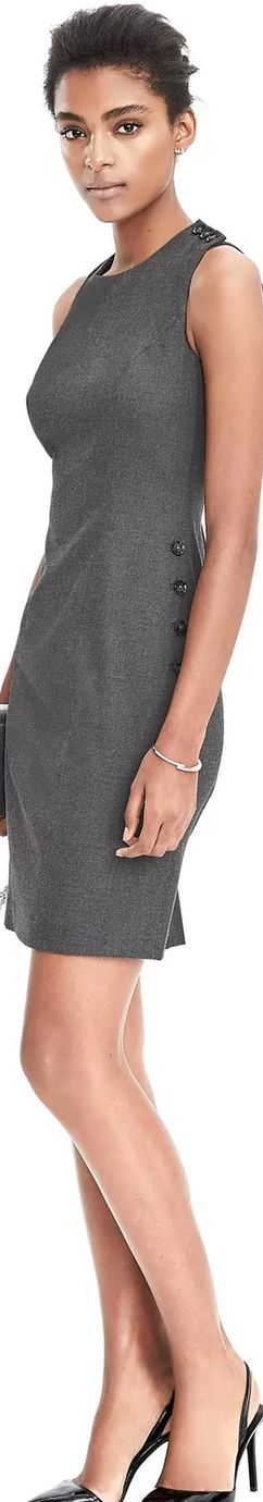 Banana Republic Sleeveless Side Button Sheath Dress | LOLO❤︎