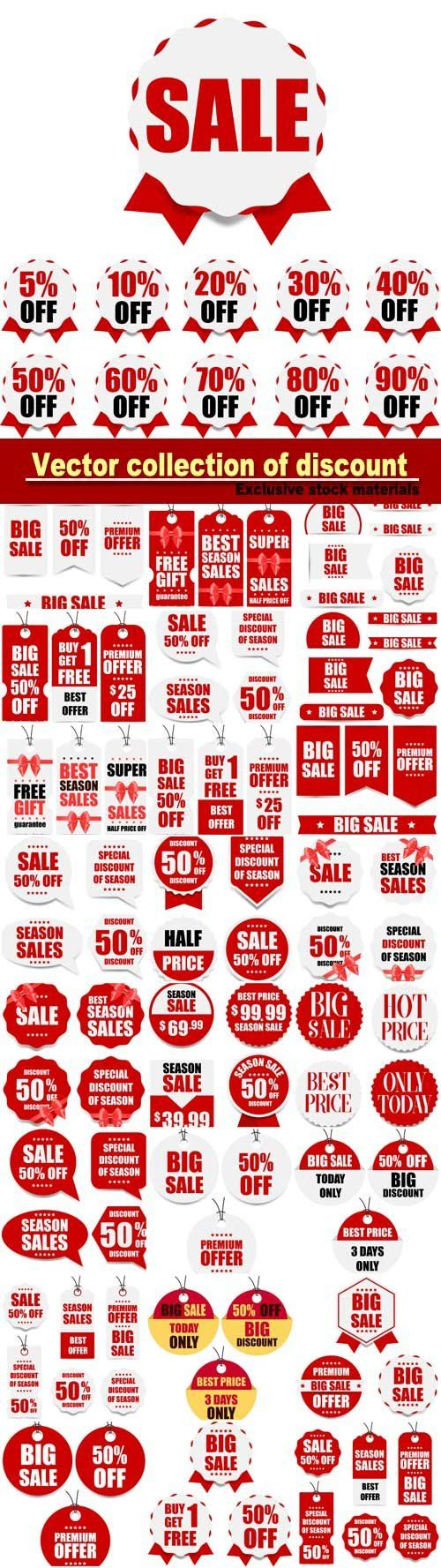 Vector collection of discount banners and stickers