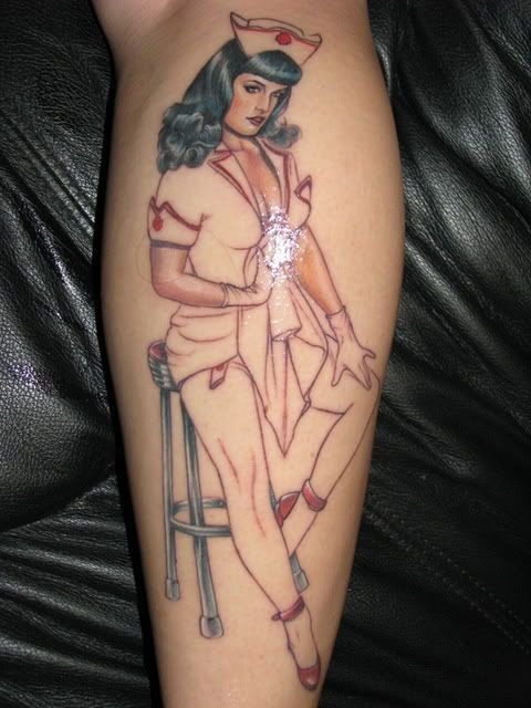 pin up nurse tattoo images galleries with a bite. Black Bedroom Furniture Sets. Home Design Ideas