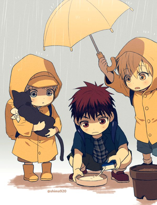 Kagami Taiga, Kuroko Tetsuya, Kise Ryouta, Rain Coat // KnB