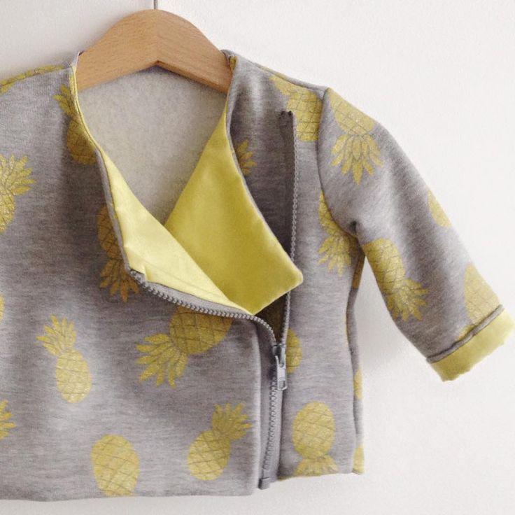 Perfecto ananas taille 6 mois réalisé à partir du patron de la veste Intemporels pour bébé.