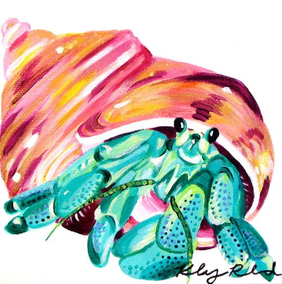 Hermit Crab Painting 6*6 by CreatedbyKelseyArt on Etsy