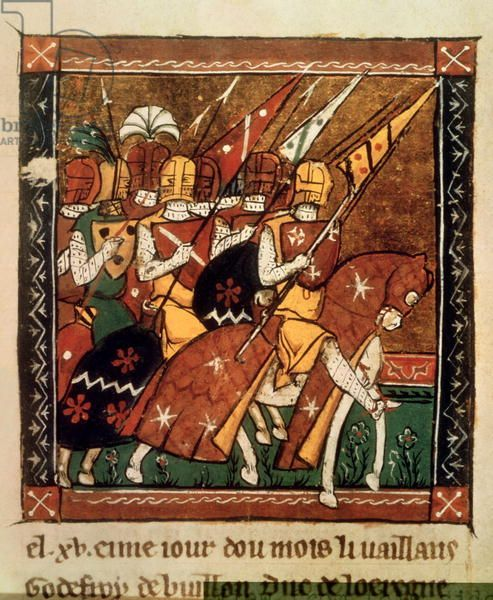 Fr 9084 f.20v: Departure for the First Crusade (vellum) By William of Tyre. Godfrey of Bouillon, Duke of Lorraine, leading his men. Chronique de Guillaume de Tyr; Godfrey of Bouillon (1060–1100) was a medieval Frankish knight who was one of the leaders of the First Crusade from 1096 until his death. After the successful siege of Jerusalem in 1099, Godfrey became the first ruler of the Kingdom of Jerusalem