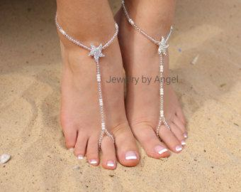 Crystal Rhinestone Starfish Foot Jewelry Wedding by JewelryByAngel