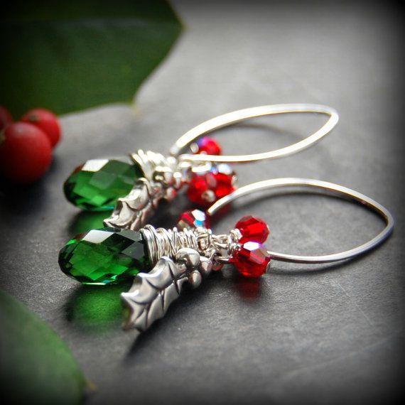 Holly Leaf Earrings, Sterling Silver Holly Charm, Red Swarovski Crystal, Green Swarovski Crystal Wire Wrapped Teardrop, Christmas Jewelry