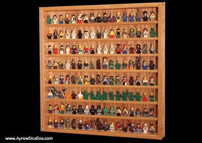 Handcrafted Hardwood Lego Display Case for Minifigures Minifigure Holds 130+ figures by AyrowStudios on Etsy https://www.etsy.com/listing/172796477/handcrafted-hardwood-lego-display-case