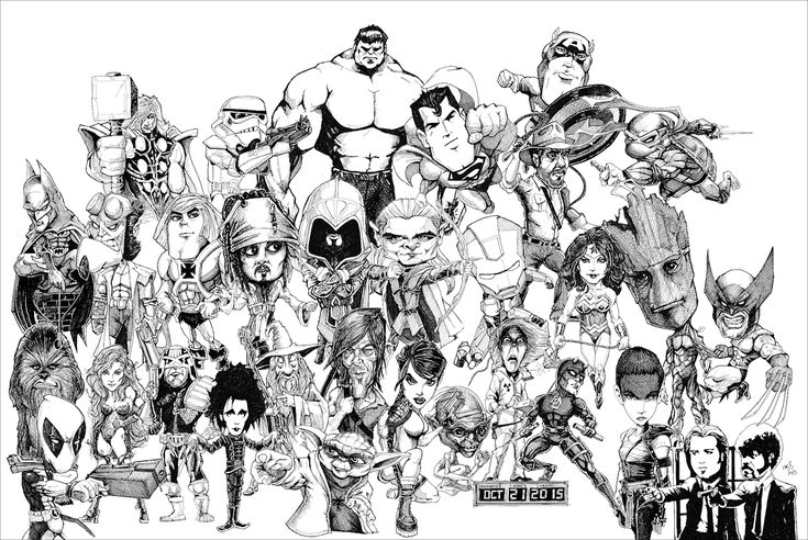 @MrSmithMachine My #inktober Massif - All 31 of my Inktober drawings in one picture. (Inspired by @PaulKidby's Discworld Massif)