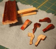 Legs for mini furniture made from picture molding leftovers, sand & restain. - Brilliant !