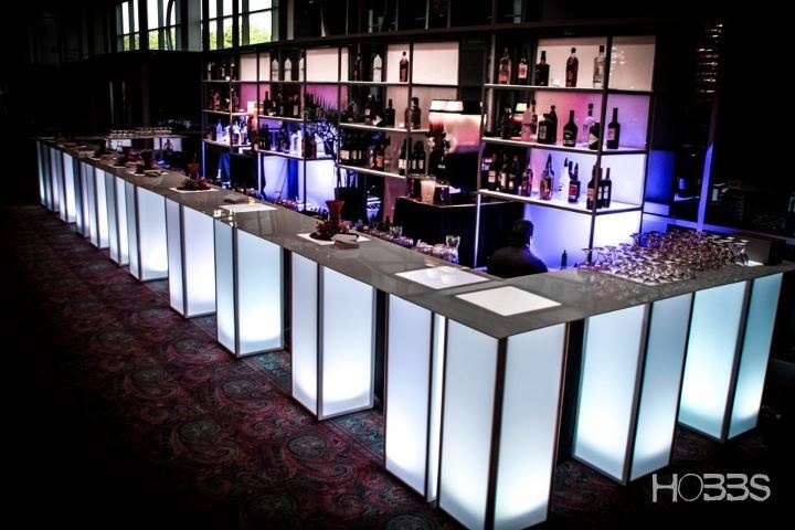Acrylic Illuminated pedestal bar. This is great for any event with a bar; weddings, corporate events & social events #networking