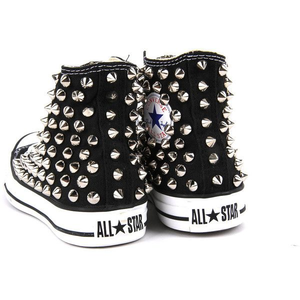 c3b85a3b9ef8 Original Converse AllStar Chuck Taylor high top studded Converse stud  sliver spike on BLACK Shoes (725 DKK) found on Polyvore