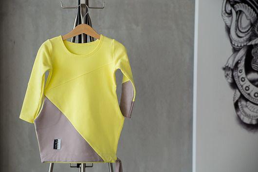 dziewczynka - moda - sukienki-Żółto szara asymetryczna sukienka z kieszeniami