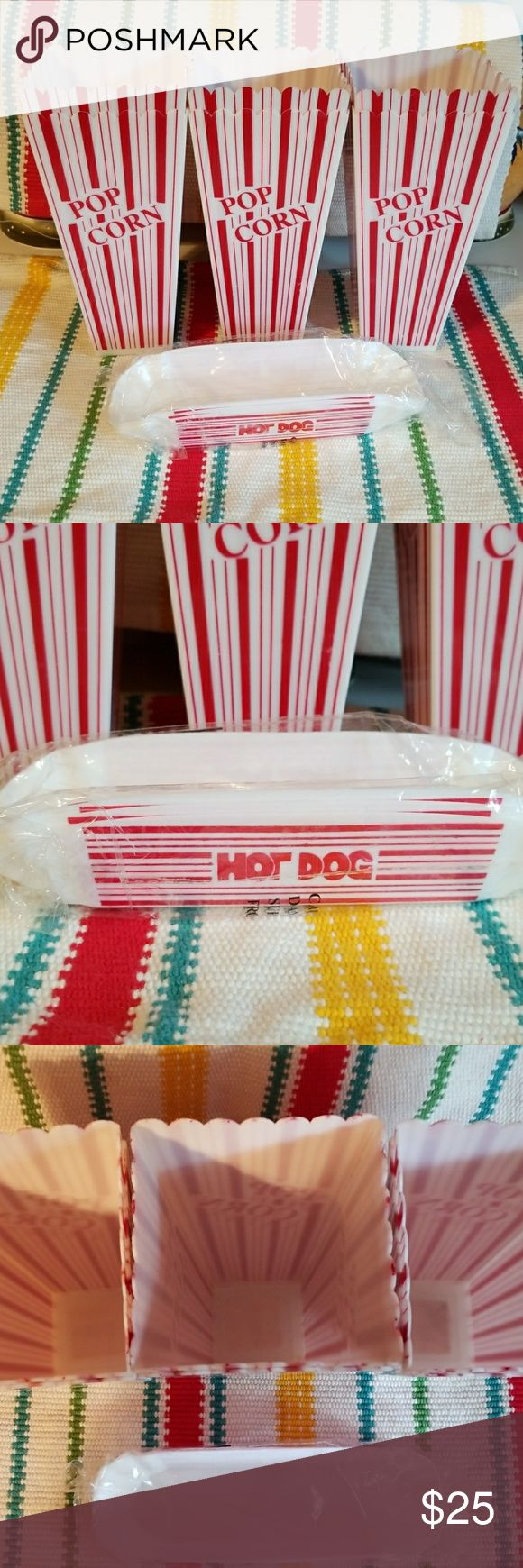 Popcorn & Hot Dog Party Holders These 6 plastic popcorn containers and 3 pack of hot dog holders are sure to be the talk of your next party ?. Tagged Michael Kors for exposure. Michael Kors Other
