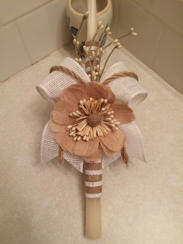 DIY Burlap ribbon/flower palm sunday candle