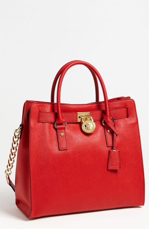 Red, hot, leather tote