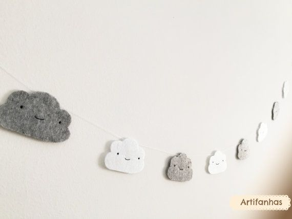 Cloud garland, Nursery decor, Baby shower decor, Modern nursery, White clouds, Grey clouds, Baby room, Cloud Bunting, Kids room, Sky