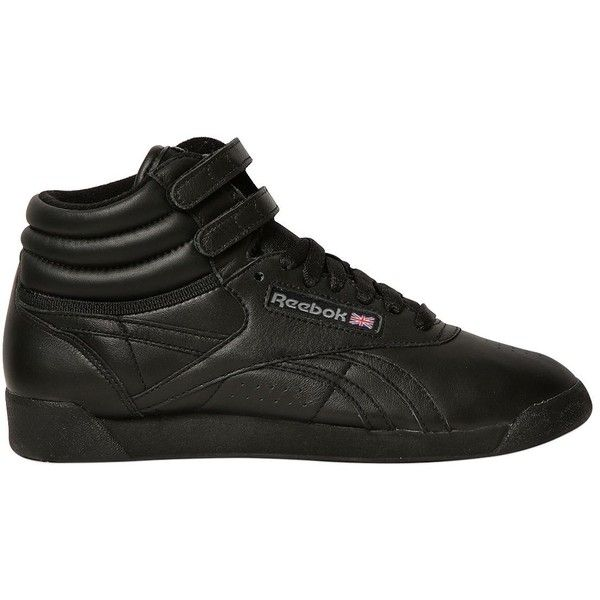 Reebok Classics Women Freestyle Leather High Top Sneakers ($115) ❤ liked on Polyvore featuring shoes, sneakers, black, leather sneakers, reebok sneakers, high-top sneakers, black leather sneakers and black high-top sneakers