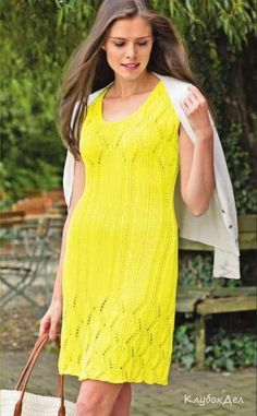 желтое платье спицами