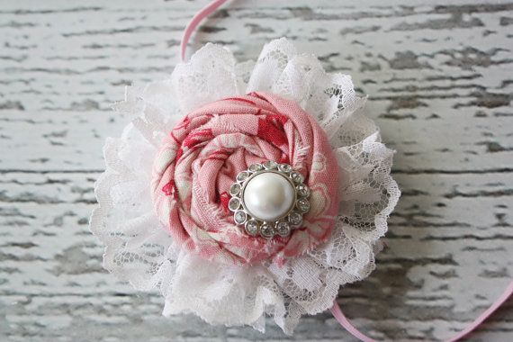 With Roses and Lace Rosette Headband by Birdie Baby Boutique