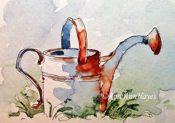 Watering Can Watercolor Painting Print ACEO Vintage Garden Gift Art – L Strobl