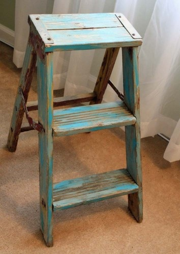 Wood Step Stool Vintage Stepstool Beachy Turquoise Folding