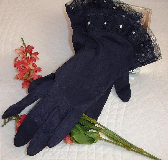 Ladies Gloves Formal Gloves Nylon Vintage Ladies Glove Navy
