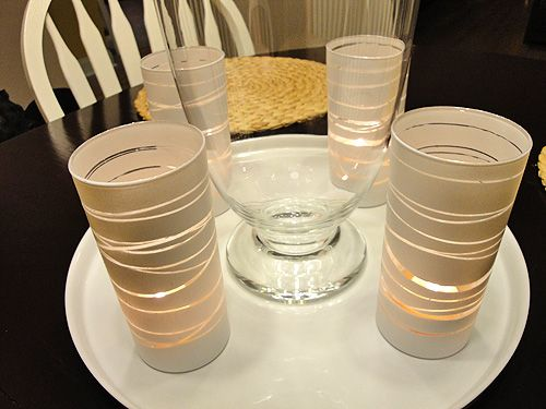 DIY spray paint rubber band candle holders