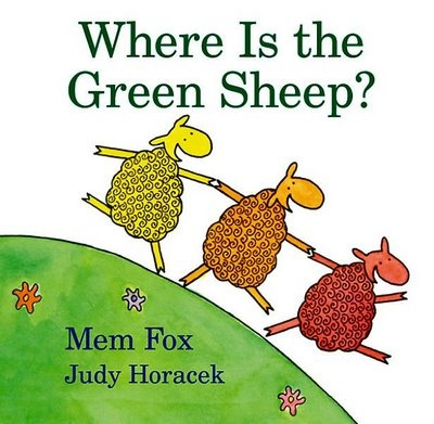 Where is the Green Sheep by Mem Fox. This book is a concept book on colors. This book has a variety of was in which you could incorporate several activities into the class reading time, such as: counting, coloring, and opposites. Also it would make for a great art activity with making a green sheep for each of the children to create and have. This book is so cute!