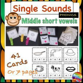 FREE RESOURCE :: Reading Centre Phonics Activity Cards Identifying MIDDLE SINGLE SOUNDS
