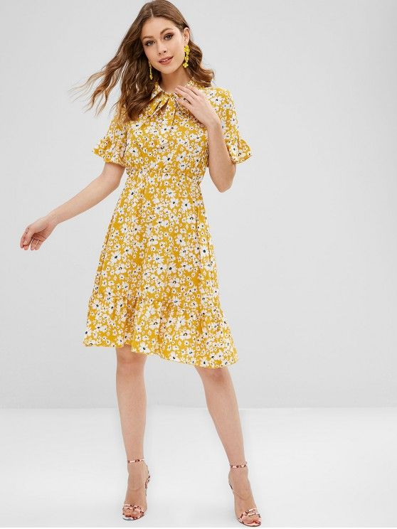 72e580e040fa9 Bow Tie Ruffles Floral Dress in 2019 | DRESSES | Yellow sundress ...