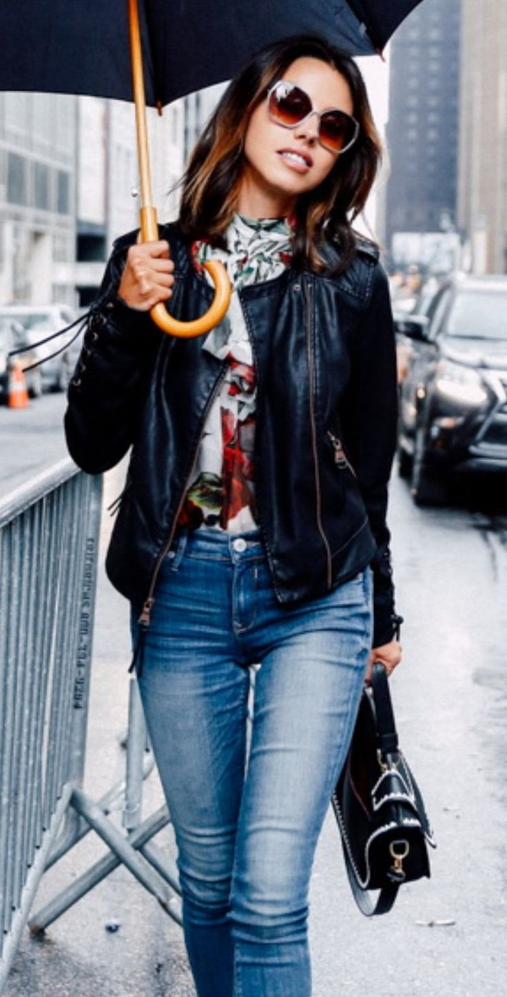 EXPRESS lace up (minus The) leather moto jacket, mid-rise perfect denim legging, metal frame cat-eye sunglasses, bracelets & rings | VALENTINO Love Latch strappy grommet pump | DOLCE & GABBANA tie neck rose print chiffon blouse | THALE BLANC bag