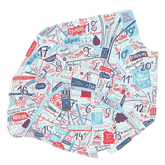 Carte de Paris art du voyage cadeau pour voyageur poster ville France poster Paris illustration France poster voyage